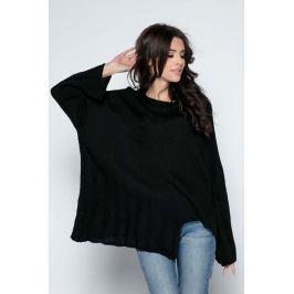 Czarny Sweter Asymetryczny z Rozkloszowanymi Rękawami