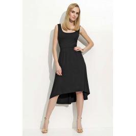 Czarna Sukienka Asymetryczna na Szerokich Ramiączkach