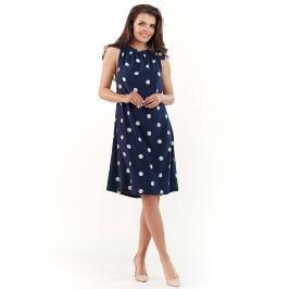 Granatowa Wzorzysta Sukienka z Wiązanym Dekoltem Sukienki i suknie