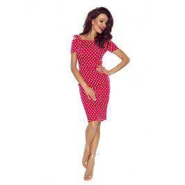 Dopasowana Czerwona Sukienka w Groszki z Wyciętymi Ramionami Sukienki i suknie