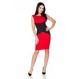 Czerwona Sukienka Ołówkowa bez Rękawów z Czarną Wstawką Sukienki i suknie