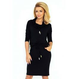 Czarna Sukienka Ołówkowa z Golfem Wiązana w Pasie Sukienki i suknie