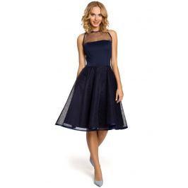 Granatowa Wieczorowa Sukienka z Prześwitującym Modnie Karczkiem Sukienki i suknie