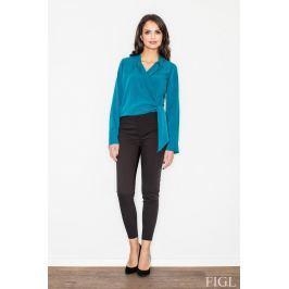 Morska Elegancka Bluzka z Kopertowym Założeniem Bluzki i bluzeczki damskie