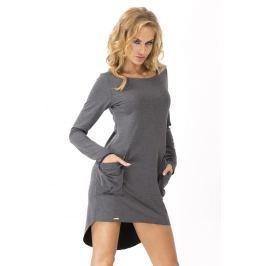 Grafitowa Dresowa Asymetryczna Sukienka z dużymi kieszeniami Sukienki i suknie