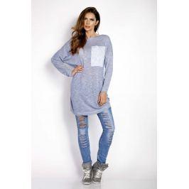 Niebieska Swetrowa Sukienka Tunika z Kieszenią Sukienki i suknie