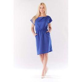 Niebieska Sukienka z Gumkami w Talii z Kimonowym Rękawkiem