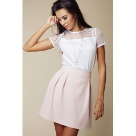 Różowa Pastelowa Rozkloszowana Spódnica Mini Spódnice i spódniczki