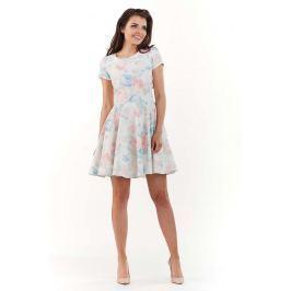 Sukienka w Kwiaty z Rozkloszowanym Dołem - Pastelowa Sukienki i suknie