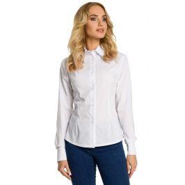 Biała Koszula Taliowana z Ozdobnymi Tasiemkami