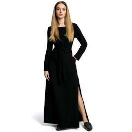 Czarna Sukienka Dresowa Maxi z Dekoltem Caro z Rozcięciem Sukienki i suknie
