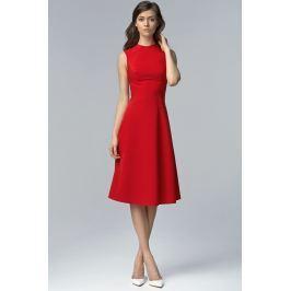 Czerwona Elegancka Rozkloszowana Midi Sukienka bez Rękawów