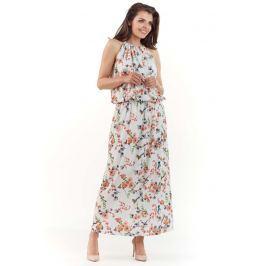 Eccru Długa Letnia Sukienka w Kwiatki wiązana na Karku Sukienki i suknie