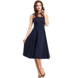 Granatowa Sukienka Midi z Transparentnym Karczkiem bez Rękawów Sukienki i suknie