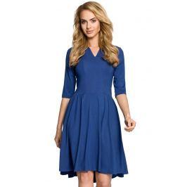Niebieska Sukienka Rozkloszowana z Rękawem 1/2 Sukienki i suknie