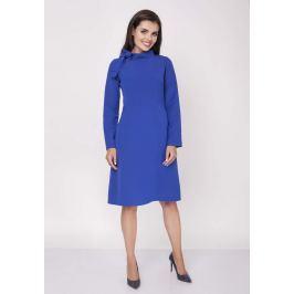 Niebieska Wizytowa Sukienka Midi ze Stójką i Kokardką Sukienki i suknie
