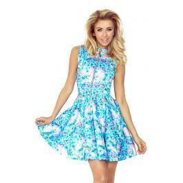 Niebieska Sukienka w Kwiaty Rozkloszowana z Suwakiem bez Rękawów Sukienki i suknie