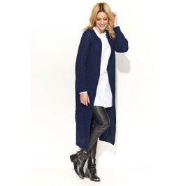 Granatowy Długi Sweter-Płaszcz z Rozciętymi Bokami Sweterki