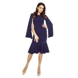 Granatowa Sukienka Wizytowa z Falbanką Sukienki i suknie