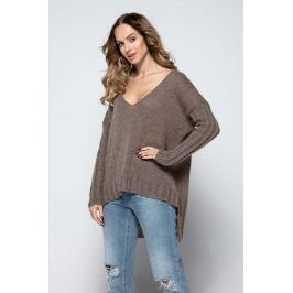 Mocca Nowoczesny Moherowy Sweter z Dekoltem V