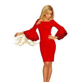 Czerwona Sukienka Dopasowana Wizytowa z Hiszpańskim Rękawem