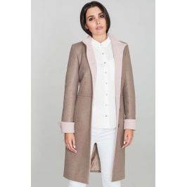 Mocca Elegancki Taliowany Płaszcz z Różowymi Rewersami Pozostała odzież damska