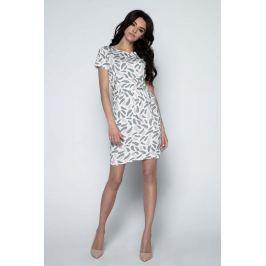 Beżowa Sukienka Mini w Piórka z Paskiem