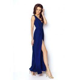 Niebieska Elegancka Maxi Sukienka z Dekoltem V z Przodu i na Plecach Sukienki i suknie