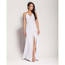 Popielata Elegancka Długa Sukienka Wiązana na Szyi Sukienki i suknie
