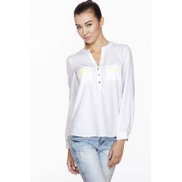 Biała Koszulowa Bluzka z Kontrastowym Paskiem na Kieszonce