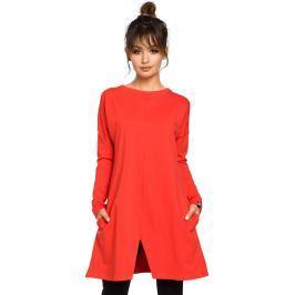 Czerwona Tunika Trapezowa z Rozcięciem na Dole Bluzki i bluzeczki damskie
