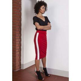 Czerwona Ołówkowa Spódnica Midi z Lampasami