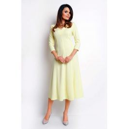 Żółta Elegancka Rozkloszowana Sukienka z Dekoltem V
