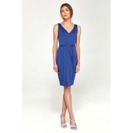 Niebieska Sukienka z Dekoltem V na Szerokich Ramiączkach z Paskiem