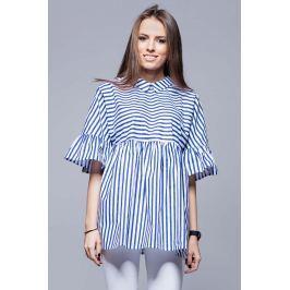 Granatowa Luźna Wzorzysta Bluzka z Koszulowym Kołnierzykiem Bluzki i bluzeczki damskie