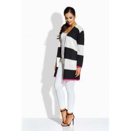 Ecru Czarny Długi Sweter w Pasy bez Zapięcia