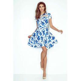 Kwiatowa Sukienka Rozkloszowana Midi z Tiulowymi Wstawkami Sukienki i suknie