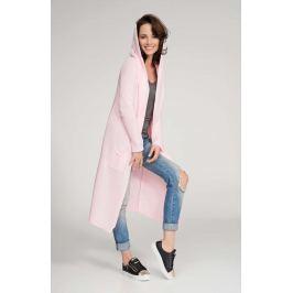 Różowy Sweter Długi bez Zapięcia z Kapturem Sweterki