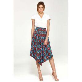 Kwiatowa Asymetryczna Rozkloszowana Spódnica z Plisami Spódnice i spódniczki