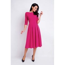 Różowa Sukienka Wizytowa Midi z Szerokim Dołem Sukienki i suknie