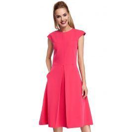 Klasyczna Rozkloszowana Różowa Sukienka z Kontrafałdą
