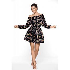 Czarna Wzorzysta Sukienka w Stylu Boho Sukienki i suknie