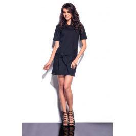 Czarna Mini Sukienka z Wiązaną Nakładką Sukienki i suknie