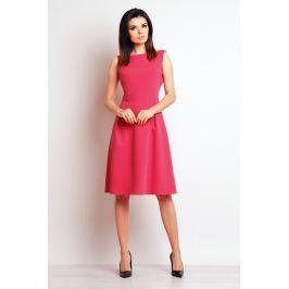 Różowa Elegancka Midi Sukienka na Szerokich Ramiączkach