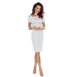 Dopasowana Biała Sukienka w Groszki z Wyciętymi Ramionami Sukienki i suknie