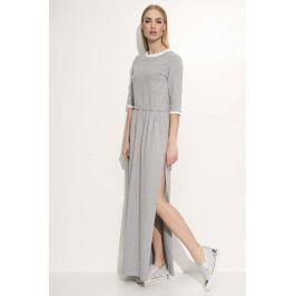 Szara Sukienka Maxi z Lamówkami Sukienki i suknie