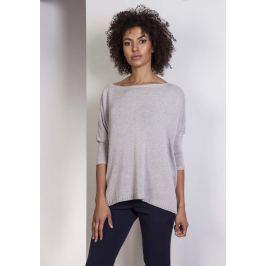 Szary Oversizowy Sweter z Metaliczną Nitką Sweterki