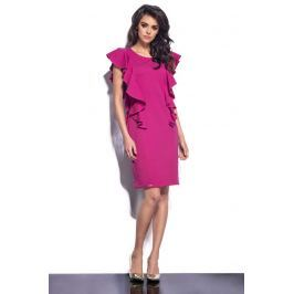 Różowa Sukienka Midi z Pionowymi Falbankami