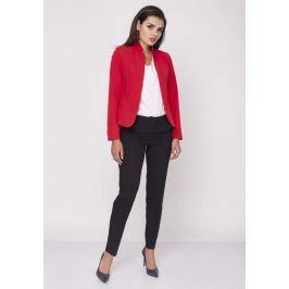Czerwony Krótki Elegancki Żakiet bez Zapięcia z Wysokim Kołnierzem Pozostała odzież damska