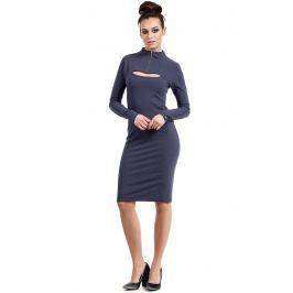 Niebieska Sukienka Ołówkowa do Kolan z Suwakiem Sukienki i suknie